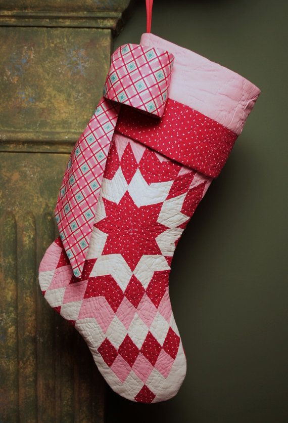 Stunning Pink and Red Star Pattern Vintage Quilt Christmas Stocking