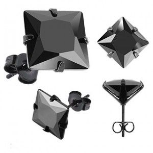 Black Stainless Steel & Square CZ Men's Earrings 3mm - 10mm Available