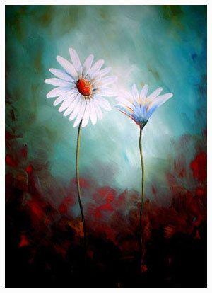 Fine Art Print Modern Contemporary Daisies by NYoriginalpaintings.  Unique, colors...
