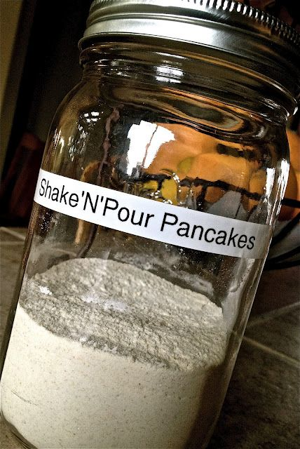 Shelf Reliance-THRIVE: Shake 'N' Pour Pancakes. Make a giant batch of Quick Mix then put two cups in your mason jars to create you're own shake 'n' pour pancake breakfast...camping here I come!!