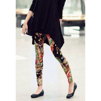 Sweet Colorful Flower Print Leggings For Women, AS THE PICTURE, M in Leggings | DressLily.com