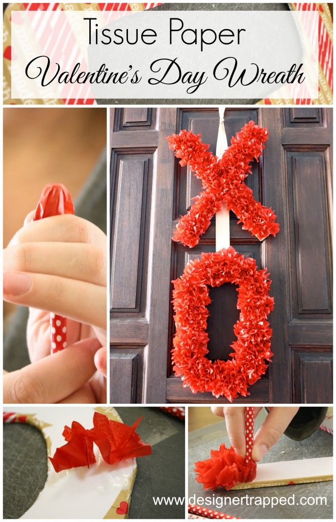 Totally genius and adorable!  Check out this Tissue Paper Valentine's Day Wreath tutorial by Designer Trapped in a Lawyer's Body!