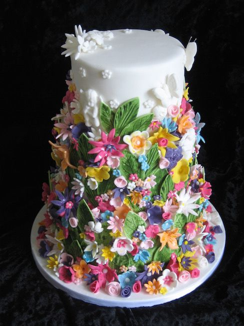 Multicoloured and lush floral wedding cake