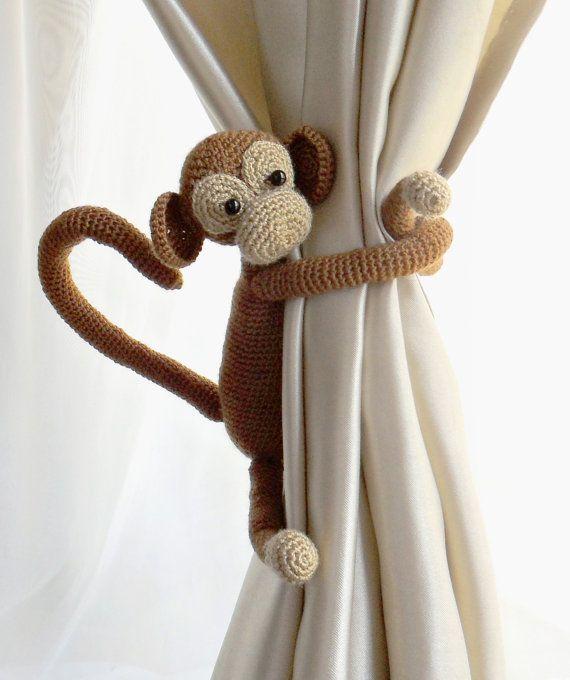 Gordijn stropdas terug met Monkey gordijn stropdas terug, 1 stk, kinderkamer gordijnen, Shabby chique gordijnen, haak gordijn Tie Backs, kwekerij binden backs,etsy.com