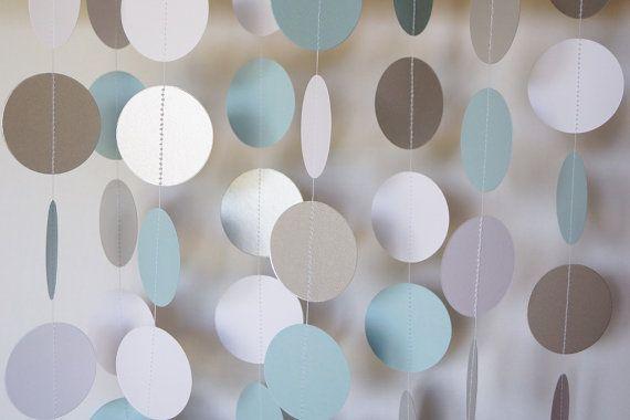 AZUL de guirnalda de papel de plata - blanco -, niños decoración de ducha de bebé, primera decoración de cumpleaños infantiles, decoración de Pastel de boda azul, 10 ft.