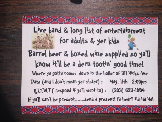 31 best images about White Trash Baby Bash – White Trash Party Invitations