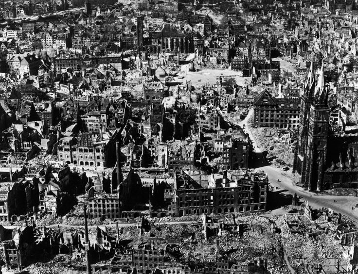 Stark, masterful photos made by Margaret Bourke-White in 1945 'show the devastation of Germany at its worst and reveal the overall pattern of Allied air strategy.'