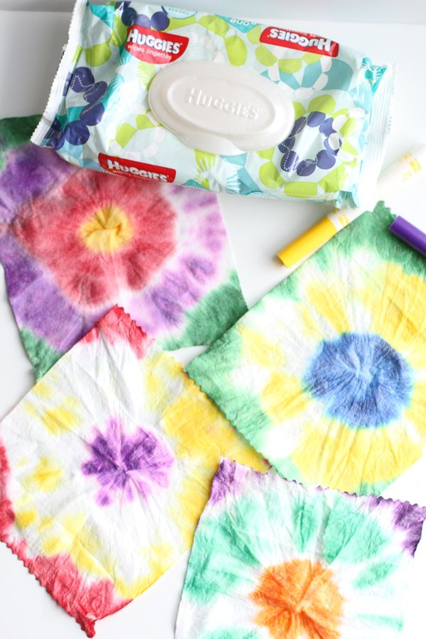 Tie Dye Art with Baby Wipes                                                                                                                                                                                 More