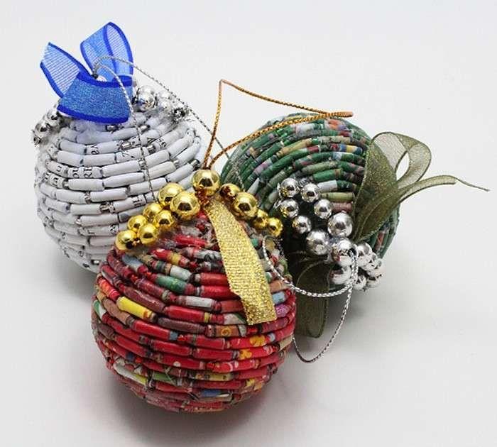 Decorazioni di Natale con il riciclo creativo - Palline di Natale con pezzi di bambù