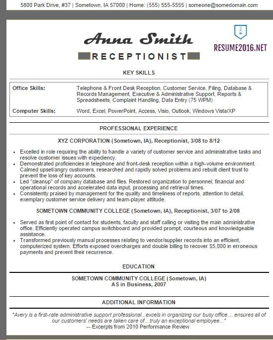 210 Best Sample Resumes Images On Pinterest Sample Resume   Resumes For  Receptionists  Resume Example For Receptionist