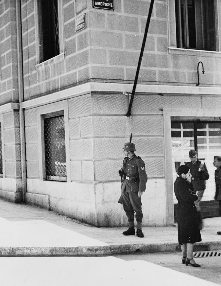 German soldiers in downtown Athens, Greece shortly after the city was occupied by the Nazis in April 1941.