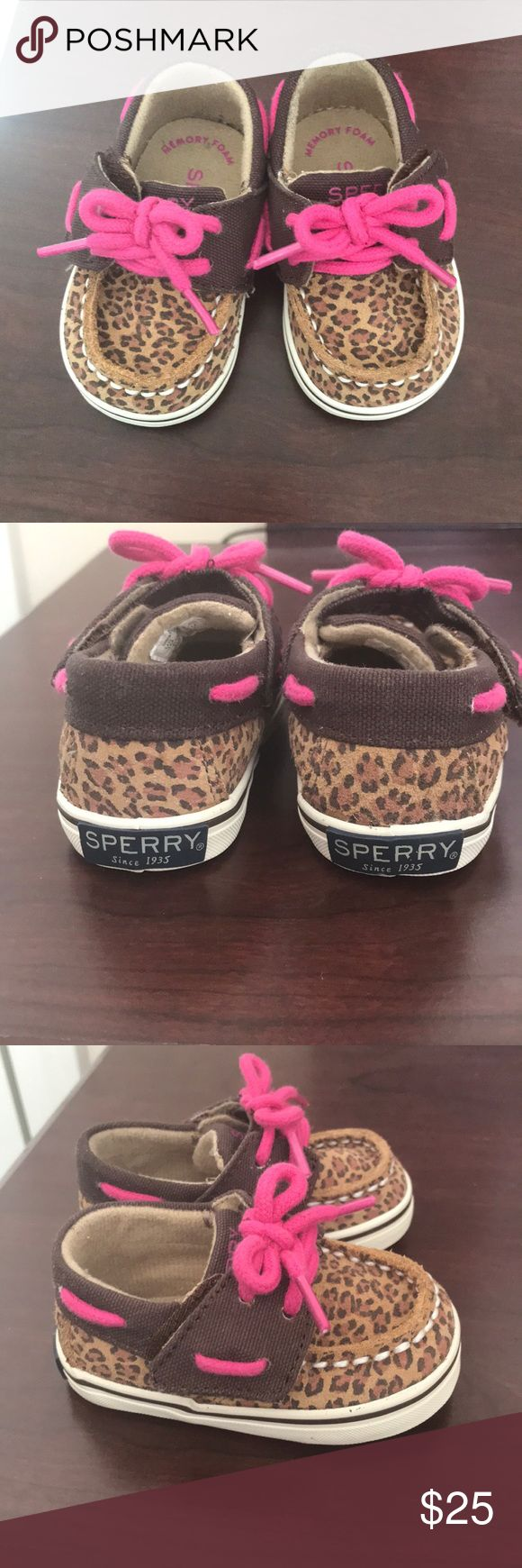 Infant Girl Sperry's size 1 Leopard print Sperry's Sperry Top-Sider Shoes Sneakers