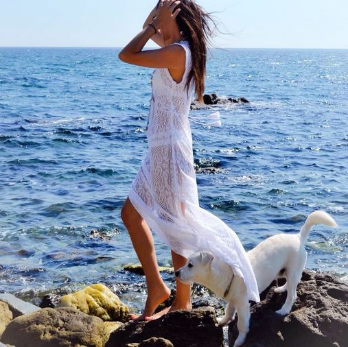 Hit the sand and surf in a beach coverup as refreshing as the meltemi. Loving this feminine and breezy @Ancient Kallos number! #wecreateharmony #ancientkallos #caftan #beachcoverup  Shop the look here: http://www.wecreateharmony.com/designers/a-d/ancient-kallos/simi-lace-long-dress-white.html