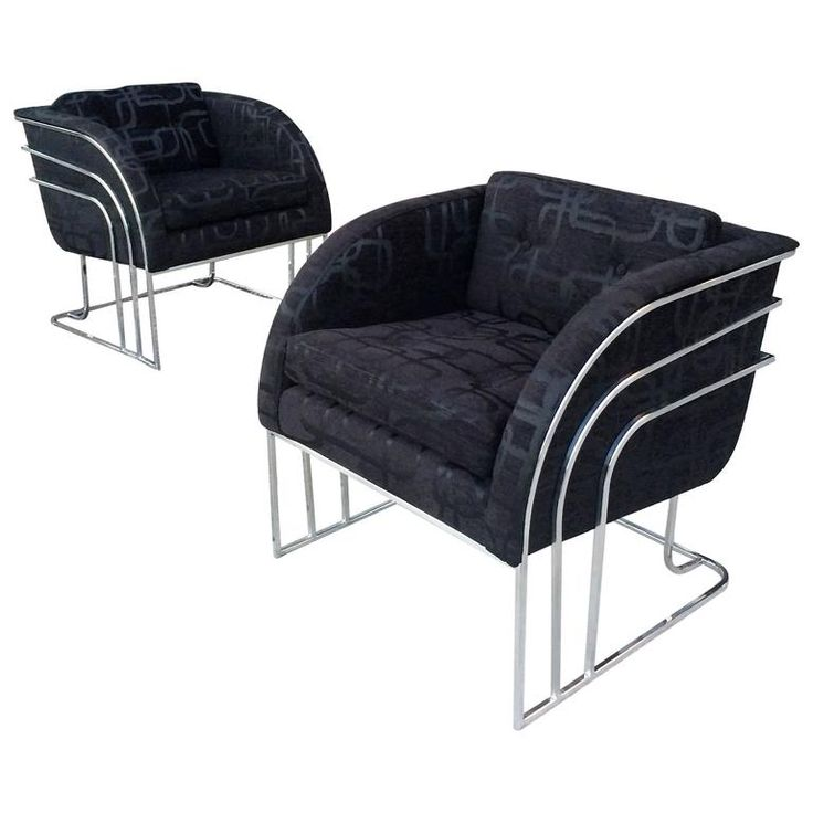 Pair of Chrome Lounge Chairs by Milo Baughman for Thayer Coggin | From a unique collection of antique and modern lounge chairs at https://www.1stdibs.com/furniture/seating/lounge-chairs/