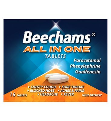 Beechams All-In-One Tablets - 16s 10029445 12 Advantage card points. Provides relief from the symptoms of colds, chills and fluSee details below, always read the labelSuitable for: Adults  children aged 12 years  overActive Ingredients: Para http://www.MightGet.com/february-2017-1/beechams-all-in-one-tablets--16s-10029445.asp