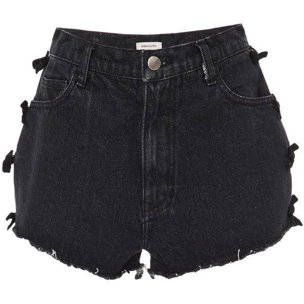 Manoush Bow Denim Shorts (£200) ❤ liked on Polyvore featuring shorts, black, high-waisted shorts, high rise shorts, manoush, high-rise shorts and jean shorts