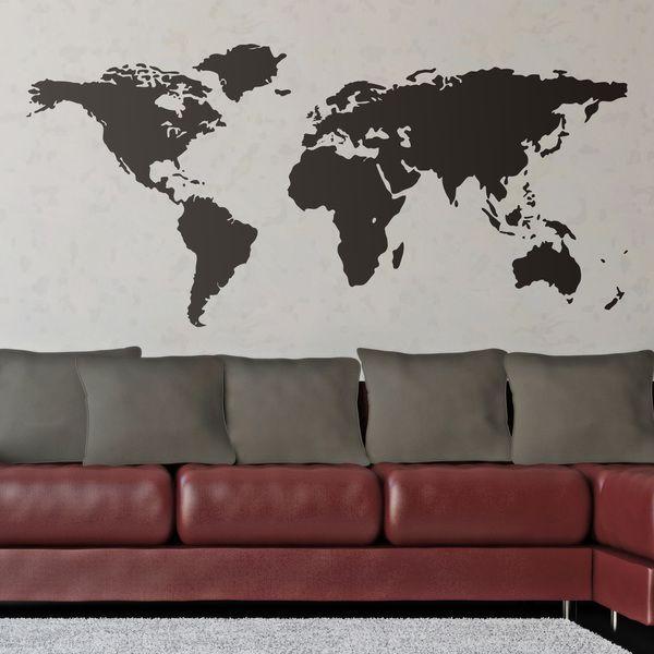 Mappa del mondo b/w o con un colore per decorare una parete #mappa #politica #adesivi #murali #vinile #deco #decorazione #muro #StickersMurali