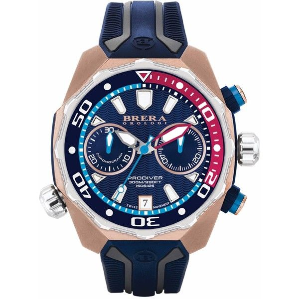 Brera Orologi - Orologi Pro Diver Chronograph Watch Rose Gold & Blue... (1112575 IQD) ❤ liked on Polyvore featuring men's fashion, men's jewelry, men's watches, mens chronograph watches, mens rose gold watches, blue dial mens watches, mens sport watches and mens sports watches