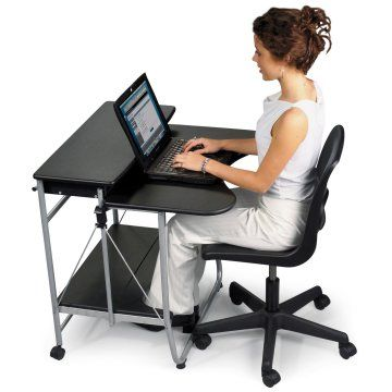 Fold n Go Computer Desk  HN-BRM 117  This portable desk is great for the hard worker on the go  Compact, mobile design folds up flat for easy storage  Great for dorms, or in your home where space is limited  Holds monitor, keyboard, CPU or laptop, and printer  Assembled dimensions: 27.5W x 29.5D x 29.5H inches  Side release buttons to fold up to 4.5W x 40H inches  Features 5/8-inch thick black tops and a silver frame  Some assembly required  hayneedle.com