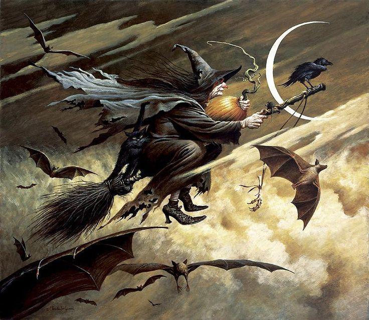 Witch. Moon. Bat. Pumpkin. Crow. By Charles Wysocki  http://www.gallery4collectors.com/CharlesWysocki-Imeralda.htm