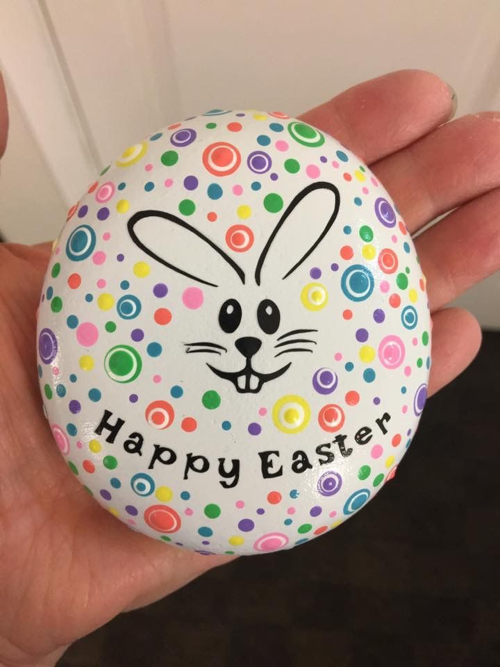Happy Easter Bunny Rock Art Rock Painting Patterns Painted