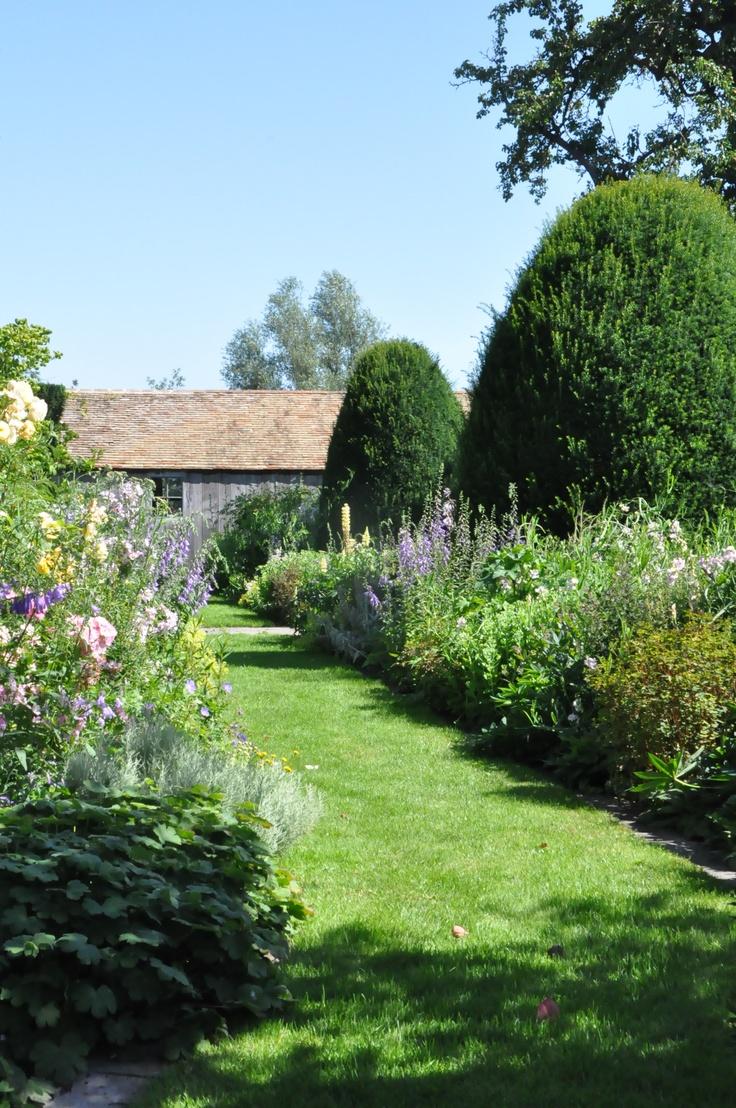 lawn path, perennial borders