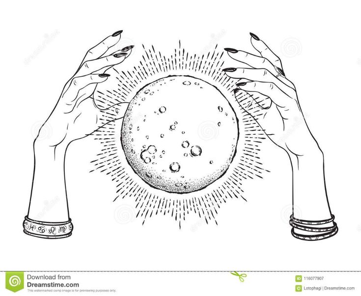 Hand Drawn Full Moon With Rays Of Light In Hands Of Fortune Teller Line Art And … – Magic