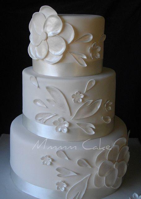 White on white wedding cake. Love it.