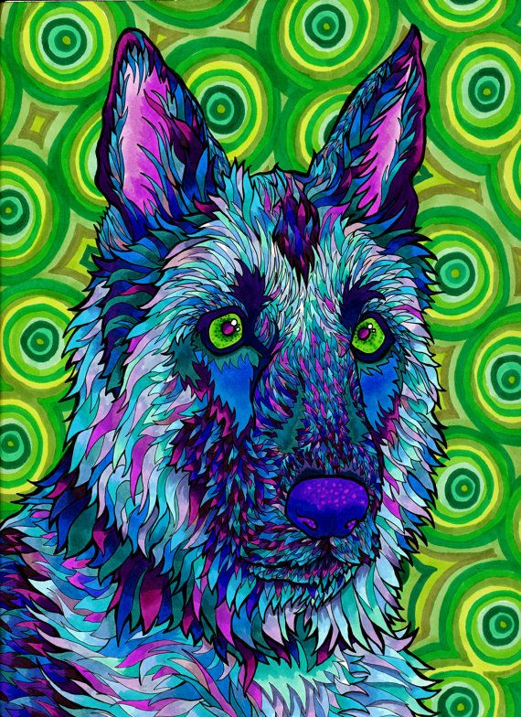 Shepherdelic Print Trippy Psychedelic by PaintMyWorldRainbow