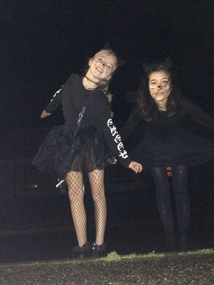 My friend and I  dressed up as cats for Halloween how original lol (☝︎ ՞ਊ ՞)☝︎ #halloween #fashion #fishnets #catears #cute #black #vans #grunge #style #art #love #shopping #gifts #1 #design #original #tumblr #body #goals #levis #whiskers #tutu