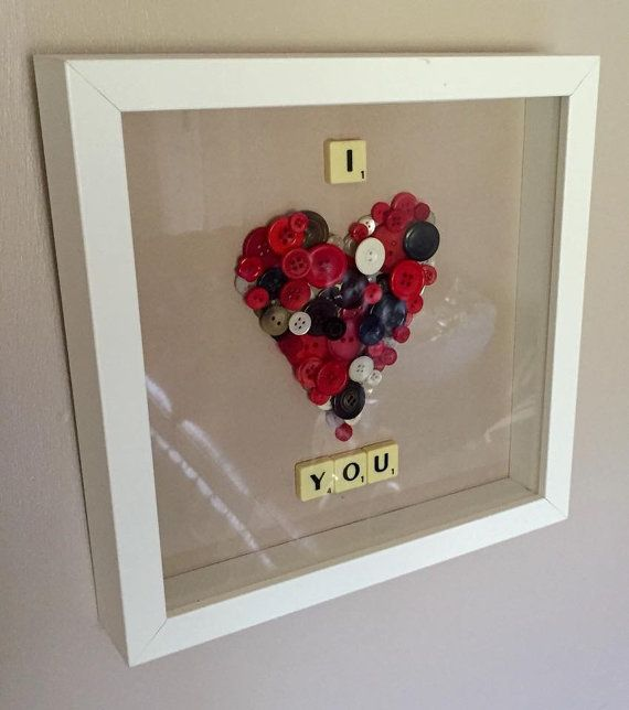 532a75019881537a37bb910eadda8490 valentine crafts valentine day gifts - Button art 'I love you' scrabble art frame. Ideal anniversary gift. Made...