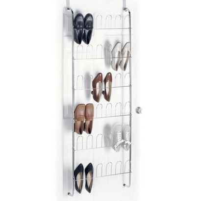 Door shoe storage rack. This might be the best option for the closet-- to mount a few door storage racks on the wall between.  This slim storage design is exactly what you need for the space.