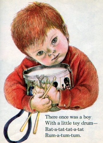 """The Boy with a Drum, Illustrations by Eloise Wilkin, 1969- Drum    """"The Boy with a Drum"""",  Little Golden Book, 1969by David L. HarrisonIllustrations by Eloise Wilkin.....the rhythm in this is nice"""