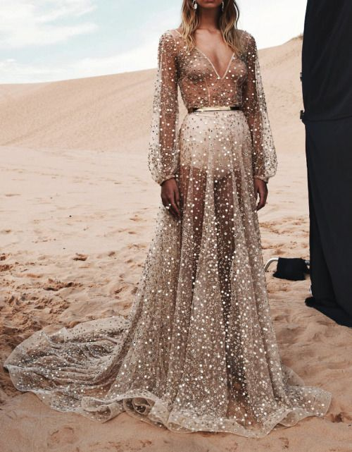 INSPIRATION: Go full on glamour in a sequinned maxi dress