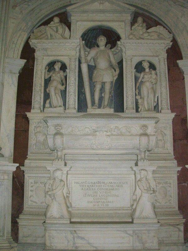 Monumento funebre a Galeazzo Caracciolo di Vico, committente della Cappella,  nella Cappella Caracciolo di Vico in San Giovanni a Carbonara a Napoli.  Circa 1550.