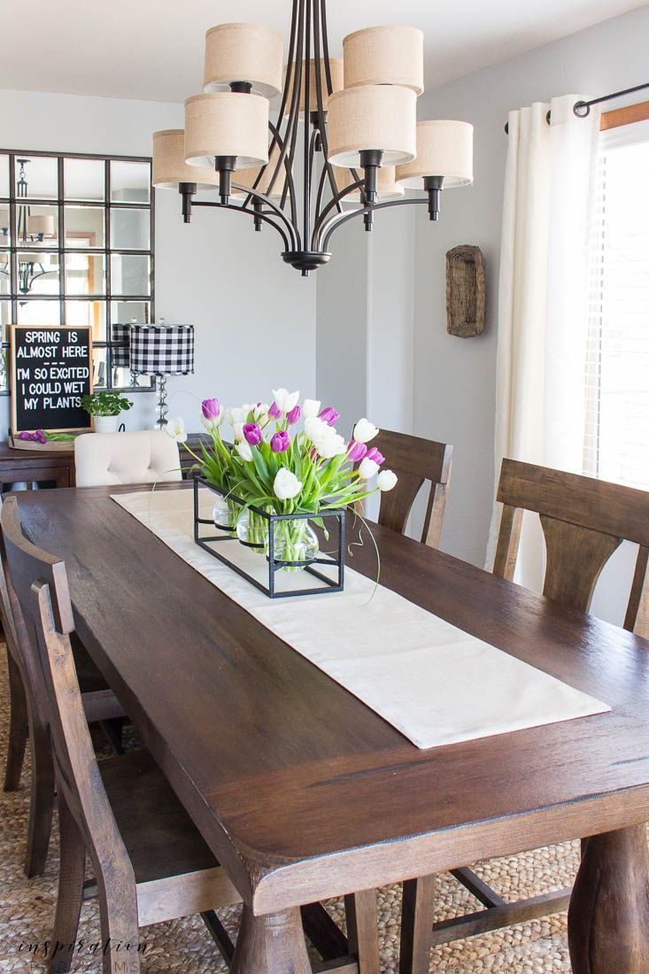 Kitchen And Dining Room Spring Tour Inspiration For Moms Dining Room Centerpiece Dining Room Table Centerpieces Farmhouse Dining Room Table