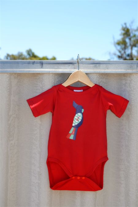 Ahoy There! Handprinted Nautical Cockatoo on Size 2 Red Australian Made Onesie