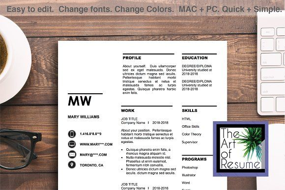 Creative Resume Template Word CV by The Art of Resume on