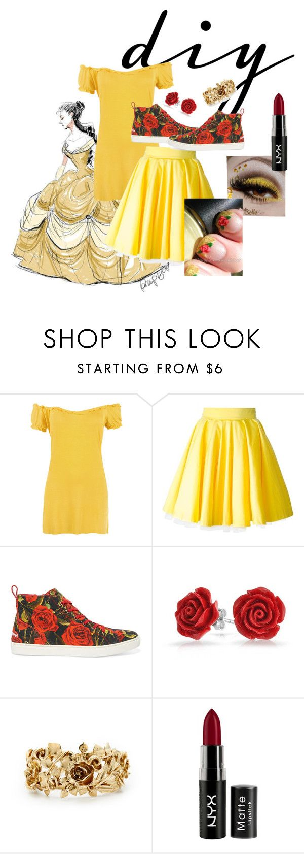 """DIY Belle Costume"" by laineyclara19 ❤ liked on Polyvore featuring Disney, WearAll, Philipp Plein, Dolce&Gabbana, Bling Jewelry, Oscar de la Renta, NYX, halloweencostume and DIYHalloween"