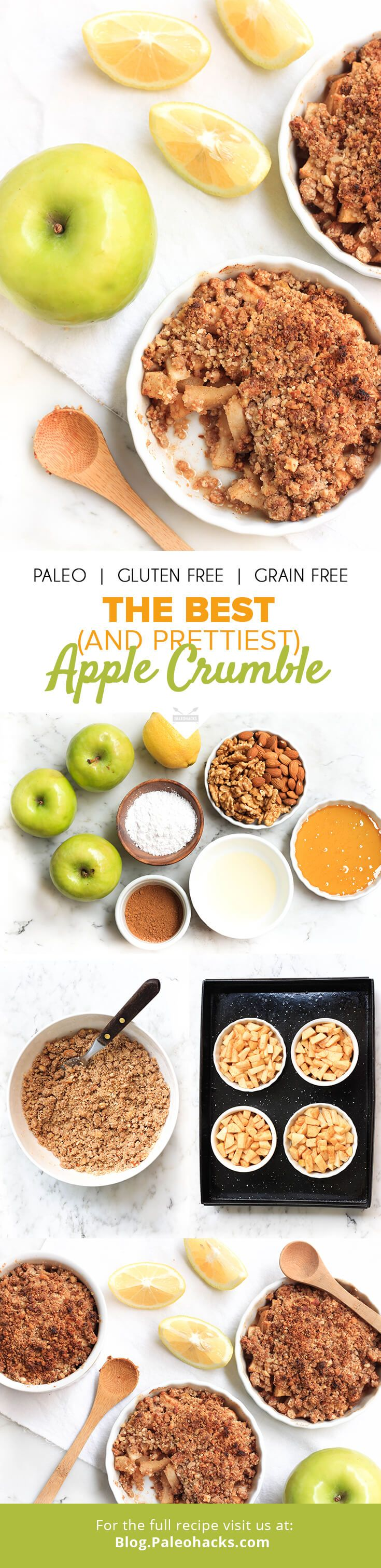 This Paleo Apple Crumble is a decadent dessert that keeps it low-carb and completely grain-free. For the full recipe, visit us here: http://paleo.co/applecrumblercp