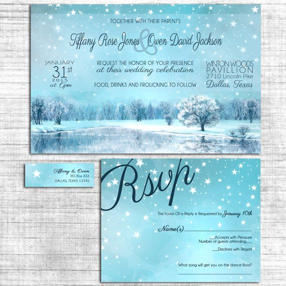 Winter Wedding Invitations - Starry Sky - Navy Blue Wedding Invitation Suite with RSVP postcards and address labels