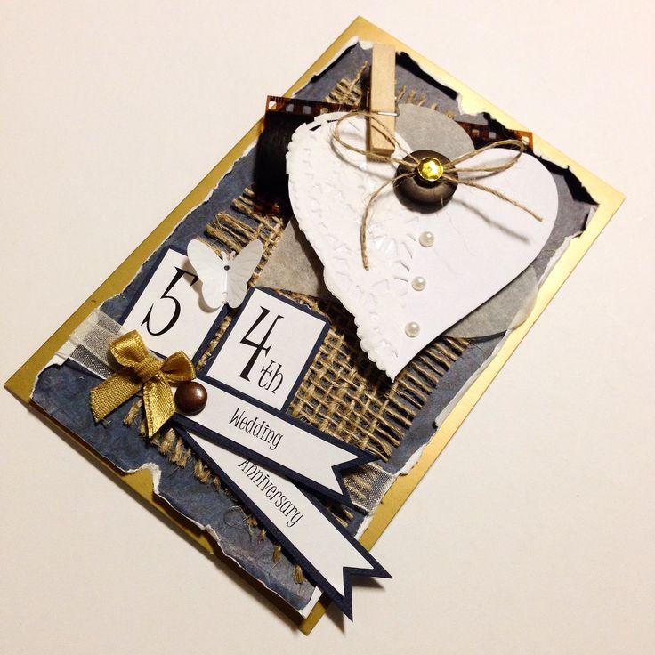 Custom made 54th Wedding Anniversary card made by Pammypumpkin!