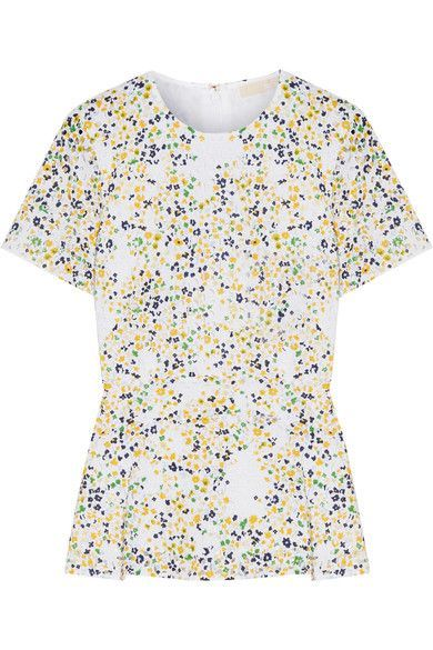 MICHAEL Michael Kors - Hayden Printed Broderie Anglaise Cotton Peplum Blouse - White - US12