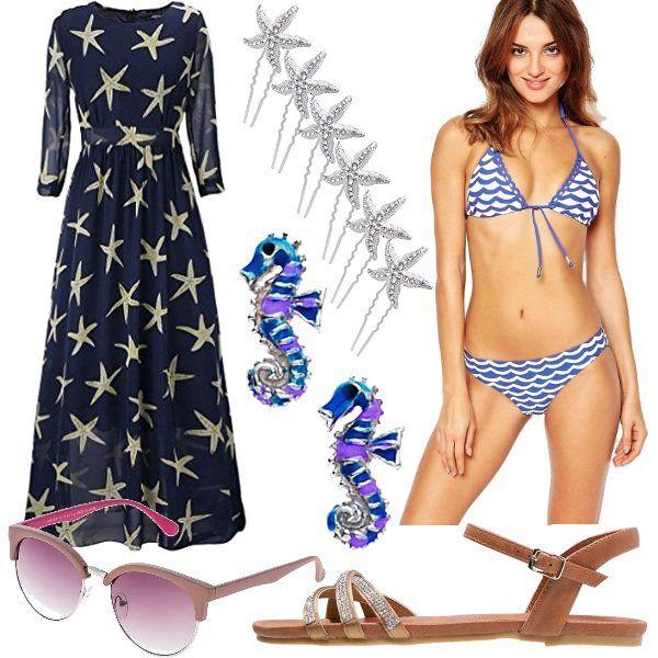 Sarai una vera sirenetta con questo outfit in perfetto stile marino!! Bikini blu e bianco con onde, abito blu con stelle marine, sandali bassi, occhiali da sole, orecchini con cavalluccio marino e forcine per capelli a forma di stella marina.