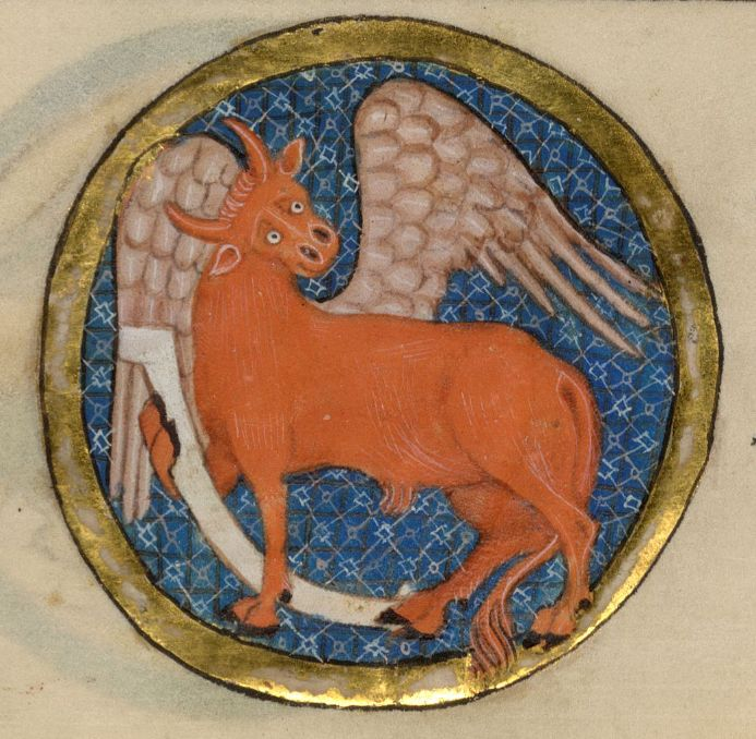 Symbol of St. Luke, the Luttrell Psalter Add MS 42130, f 50r