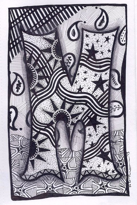 Zentangle, Letter M, Zebra Letters, name, bunting