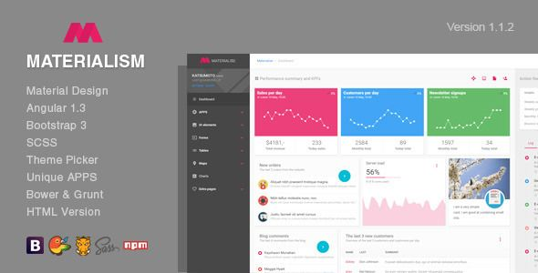 Materialism |  Angular Bootstrap Admin Template