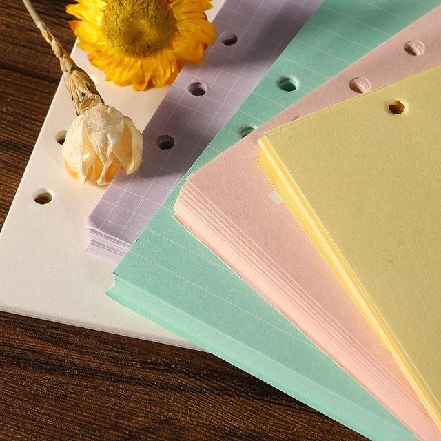Recargas Kicute 40 hojas Espiral Cuaderno A5 Páginas Interiores 6 agujeros Carpeta de Hojas Sueltas De Papel Planificador de Papel De Relleno de Útiles Escolares