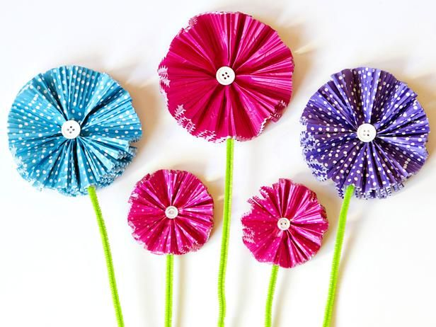 DIY Network has easy step-by-step instructions for colorful paper flowers – fun for kids and moms!