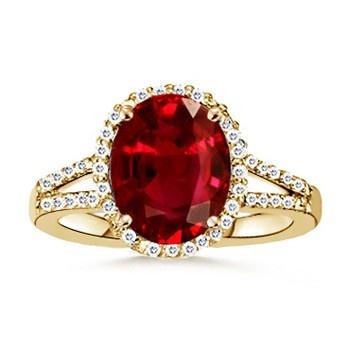 Angara Diamond Border Ruby Split Shank Engagement Ring in 14k White Gold xkvWdeS9m8